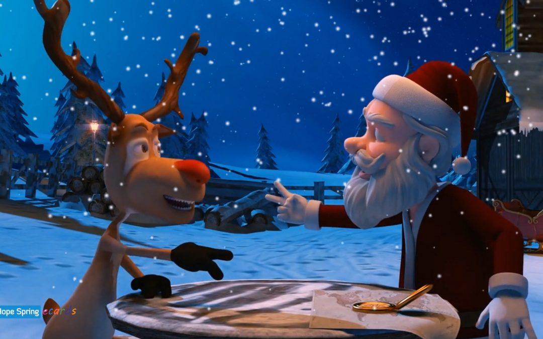 Santa and Rudolph Play Rock, Paper Scissors